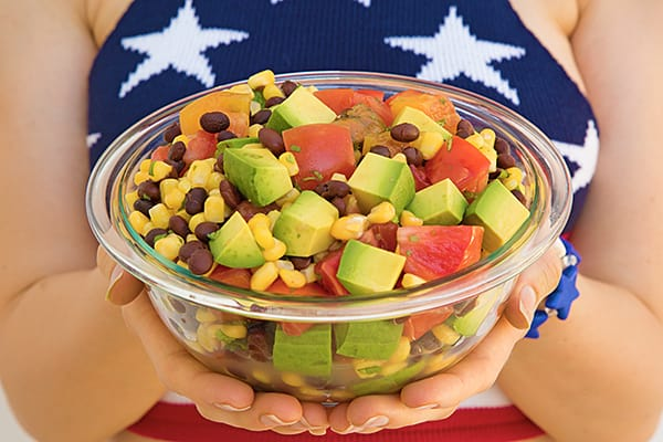 Tomato Corn Avocado Salad! A quick and easy summer meal that's perfect for July 4th! #oilfree #plantbased