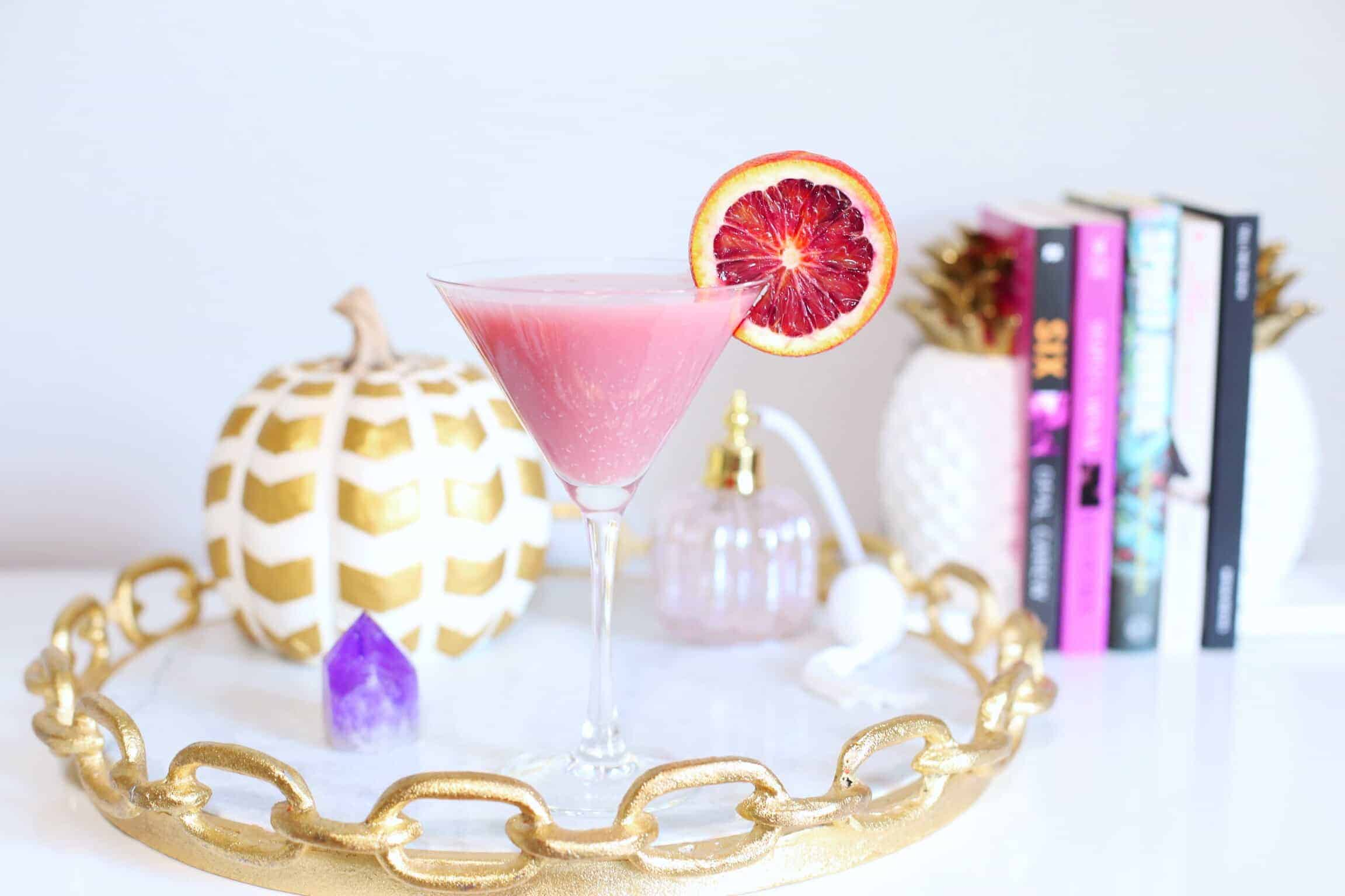 This Pink Pumpkin Martini is the perfect balance of tart & sweet and an amazing addition to a contemporary fall party.