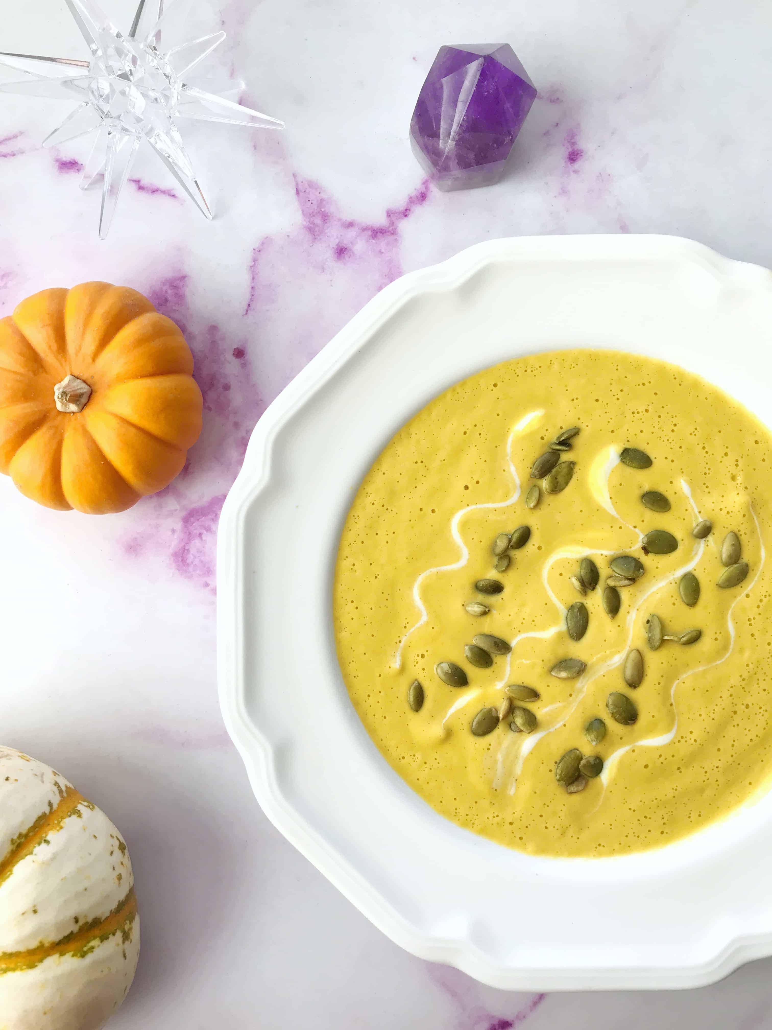 Blender Butternut Squash Soup that's delicious & vegan.